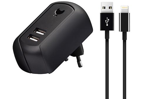 Сетевое зарядное устройство Travel Charger 2 USB, 2.4 A, черное