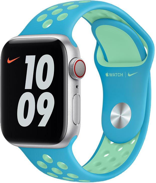 Спортивный ремешок для Apple Watch 40 мм, «лазурь/нежно-зелёный»