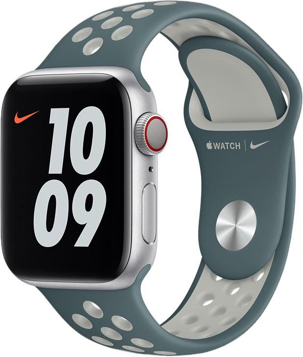 Спортивный ремешок для Apple Watch 40 мм, «серо-зелёный/серебристый»