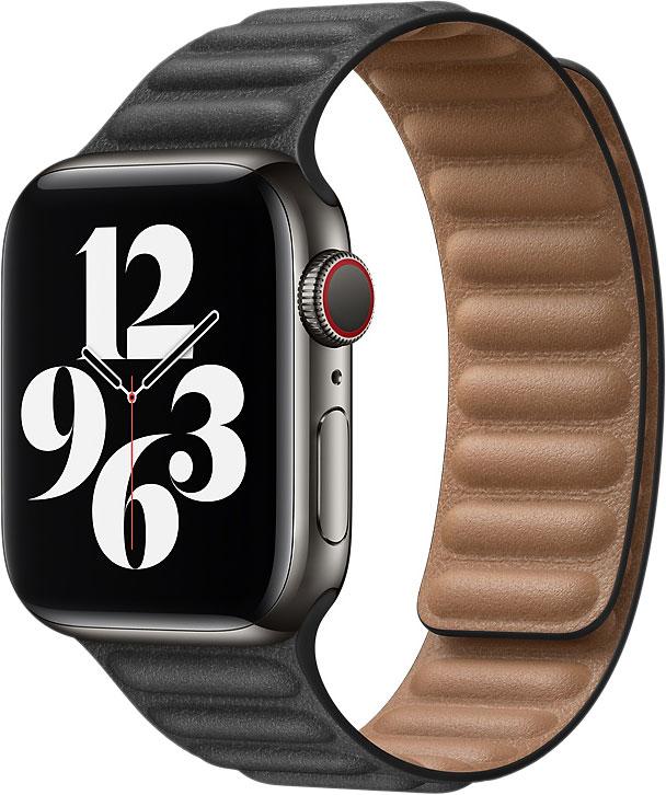 Кожаный браслет Watch 44 мм, размер M/L, чёрный