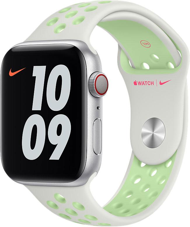 Спортивный ремешок для Apple Watch 44 мм, «еловая дымка/пастельный зелёный»