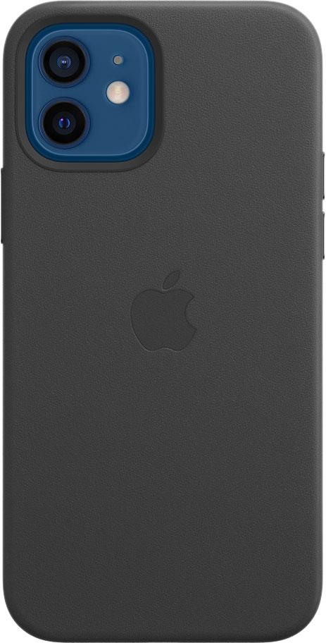 Чехол MagSafe для iPhone 12/12 Pro, кожа, чёрный