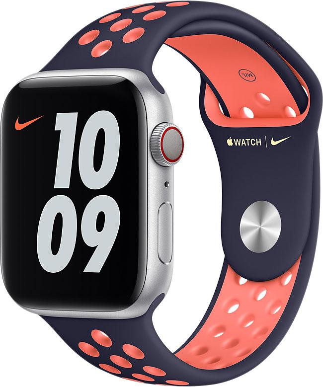 Спортивный ремешок для Apple Watch 44 мм, «полночный синий/манго»