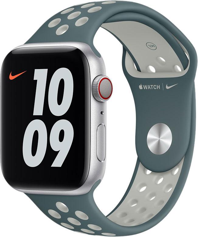 Спортивный ремешок для Apple Watch 44 мм, «серо-зелёный/серебристый»