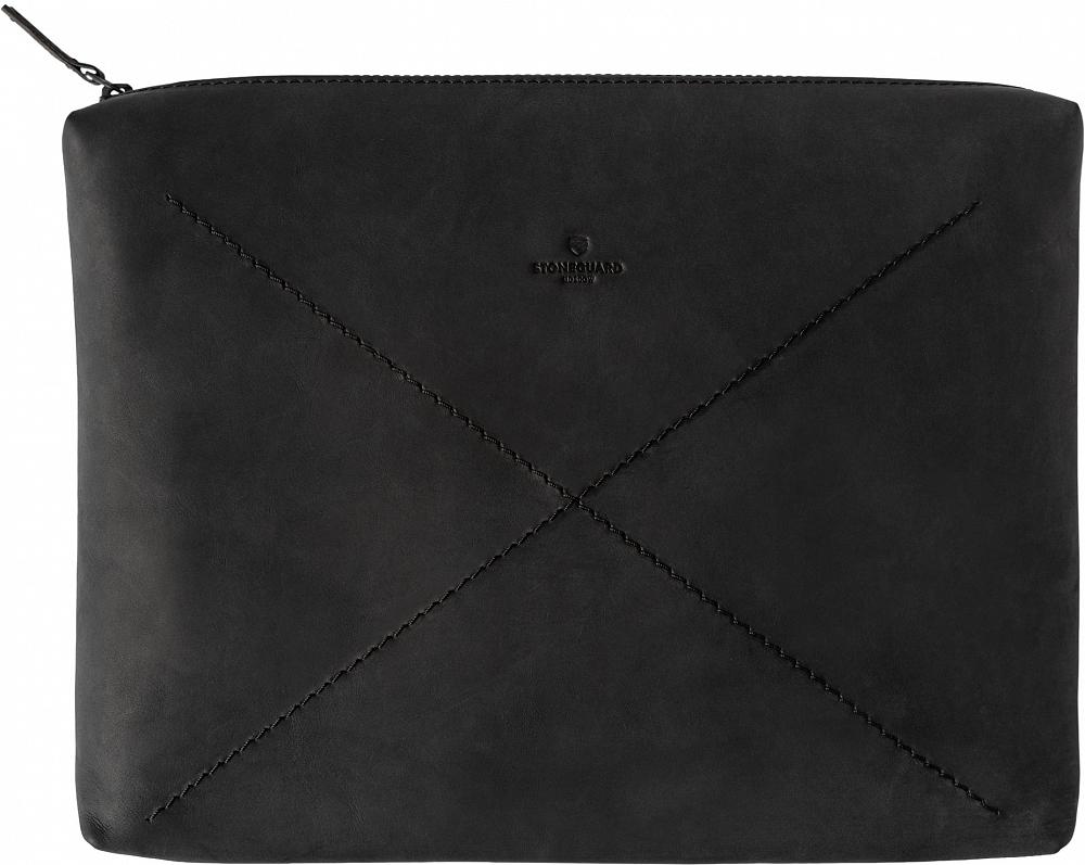 """Чехол-конверт 522 для ноутбуков 13"""", кожа, черный"""