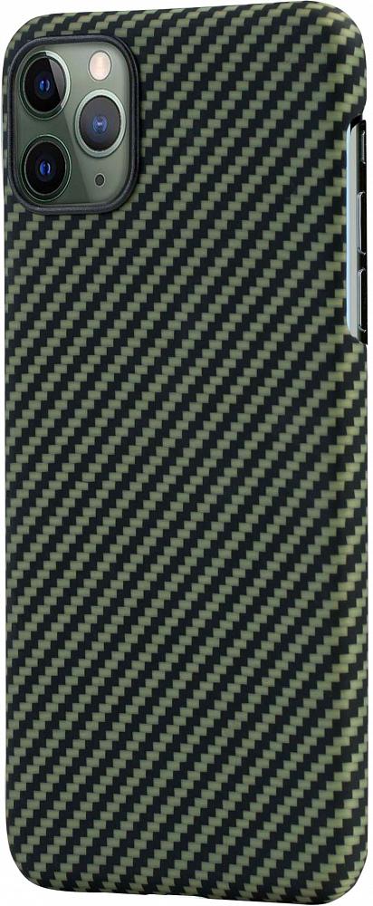Чехол для iPhone 11 Pro Max, кевлар, зелено-черный
