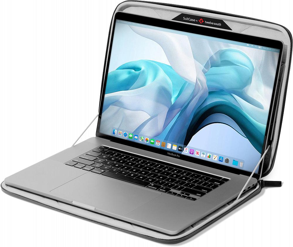 """Сумка SuitCase для ноутбука 16"""", кожа, серый"""