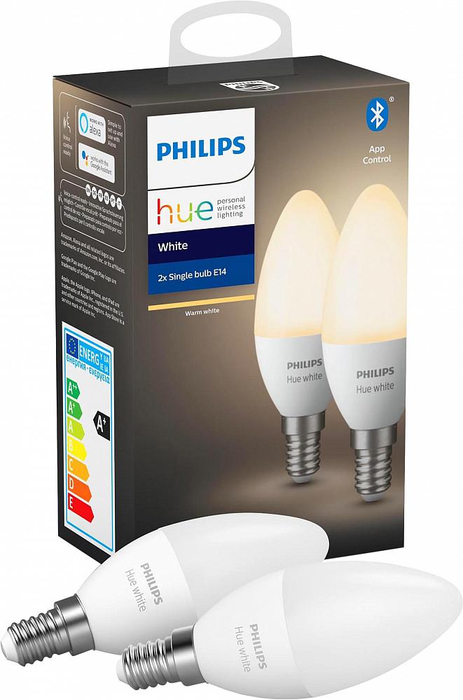 Умная лампа Hue White, 5.5W, E14, 2 шт